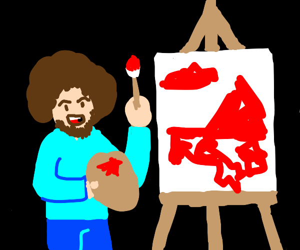 Bob Ross paints with blood