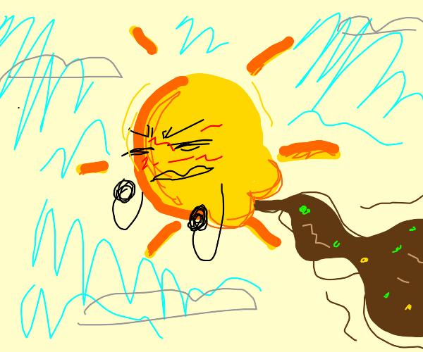 The sun pooping