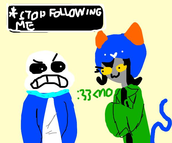 sans asks blue furry to stop following him
