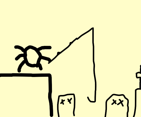 bug fishing in a graveyard