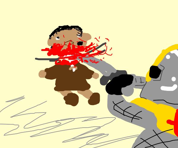a knight kills ice age baby