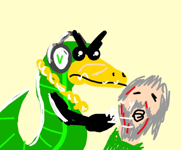 Vector beats up an old man