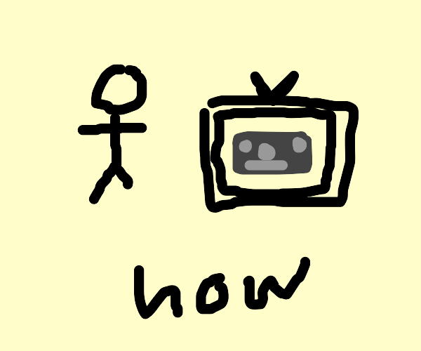 Stickfigure with a grey dollar on a TV