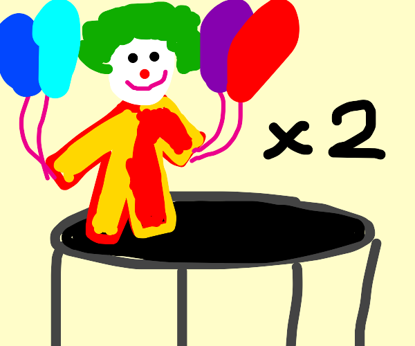 Two clowns on trampoline reach for balloons