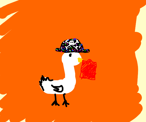 Goose in a dotted pirate hat holds red cloth