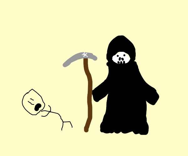 Death approaching someone who fell