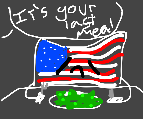 american flag eating his last meal