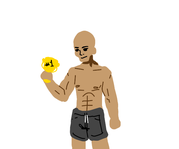 muscular person holding #1 trophy
