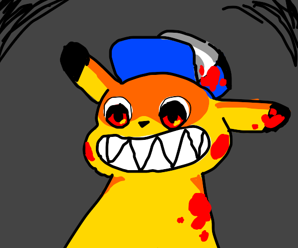 Creepy Pikachu with blue hat