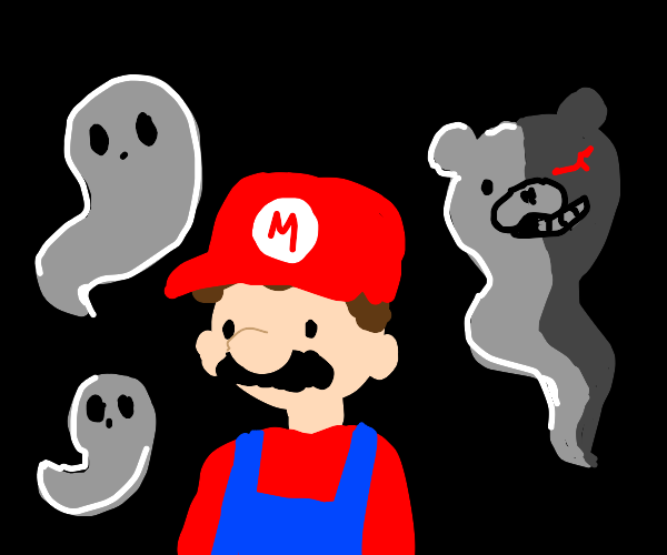 Mario haunted by ghosts and Monokuma
