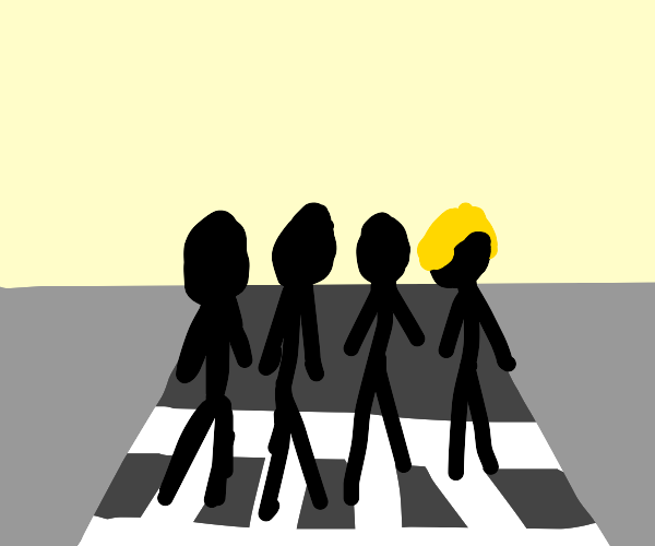 The Beatles Abbey Road but Lennon is blond