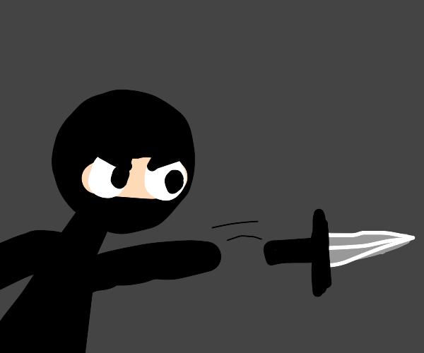 Ninja throws dagger