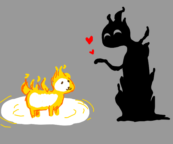 Shadow person loves their fire dog.