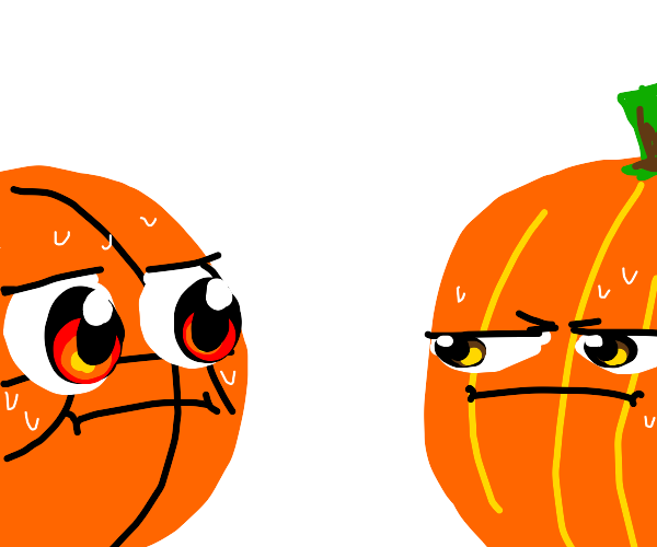 Basketball staring intensely at pumpkin