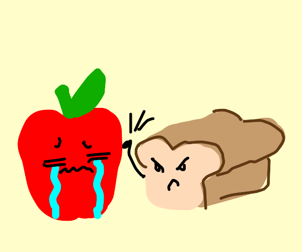apple is crying because of bread!!!!1