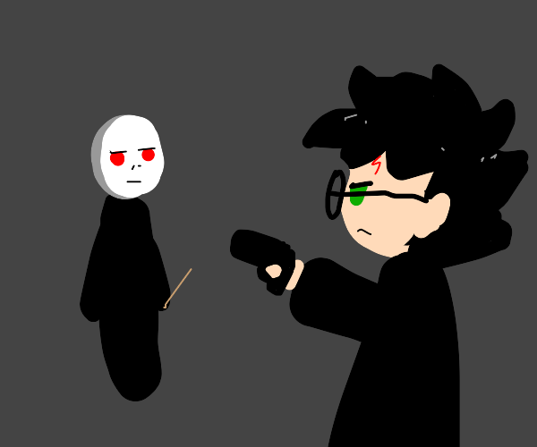Harry pointing a gun to voldemort