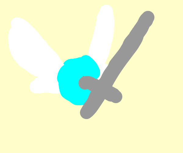 Links fairy holds his sword
