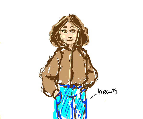 Pretty lady in a brown jacket and blue heans
