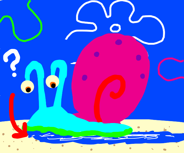 Gary the snail has blue goo coming from his e