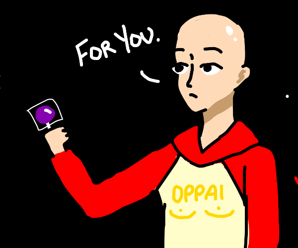 One Punch Man in a hoodie gives you lollipop