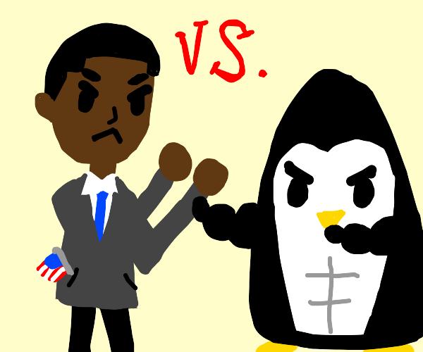 obama vs buff penguin