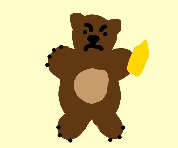 Bear does not like mustard dispenser