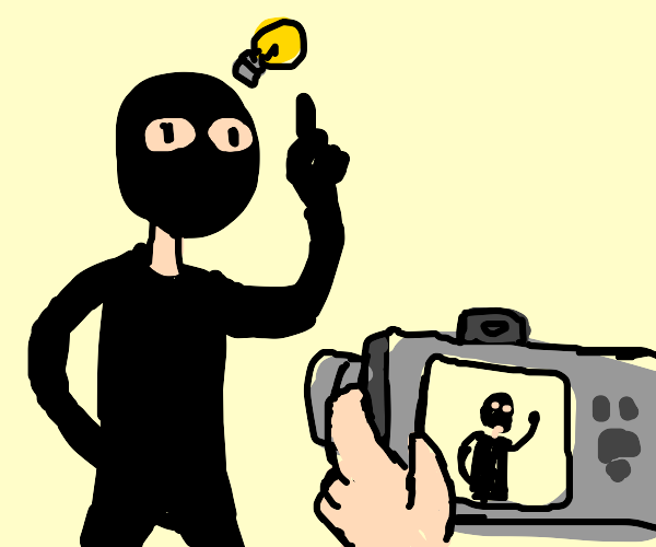 Robber think hes being smart, camera film him