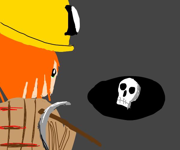 miner encounters a lost skull