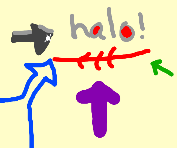 An arrow pointing to a halo