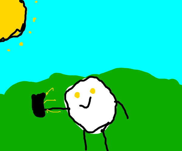 Egg with yellow eyes takes a selfie