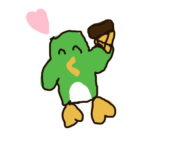 Happy green penguin eats ice cream