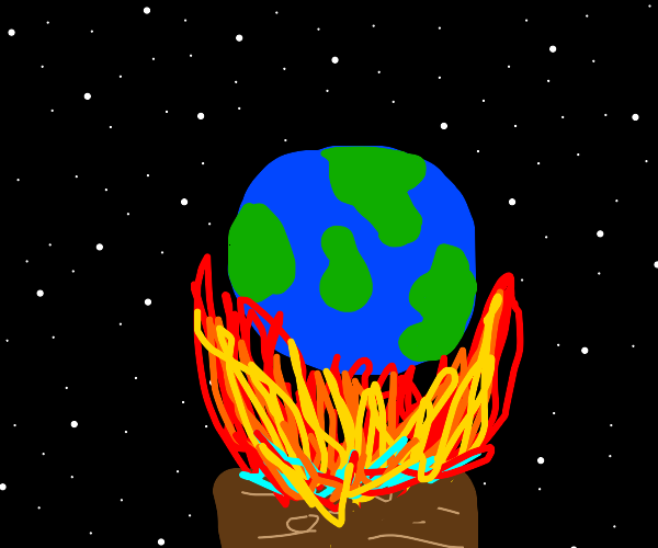 earth but it's on top of a campfire