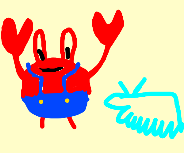 mr krabs and his cute taddel-tentacle-dog