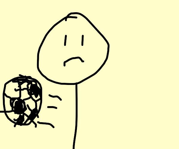 stickman is sad playing soccer