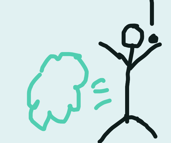 Stickman surprised by his fart