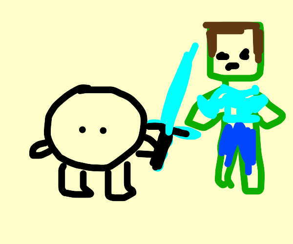 circle man with pick-axe vs. Minecraft zombie