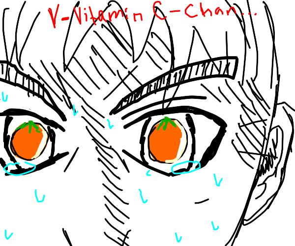 Large orange anime eyes