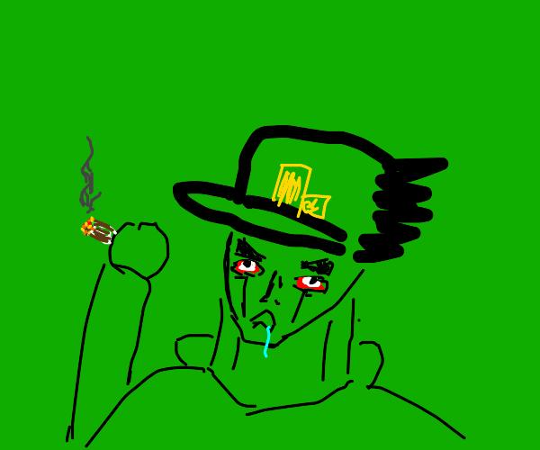 Jotaro smokes weed
