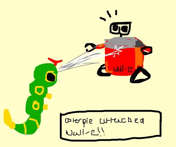 Caterpillar Pokemon attack red wall e