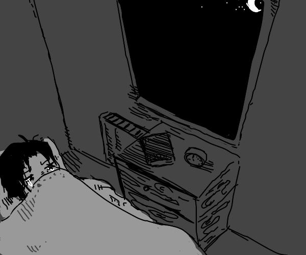 Sad emo girl at night
