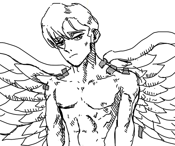 Angel finds that his wings are taped on