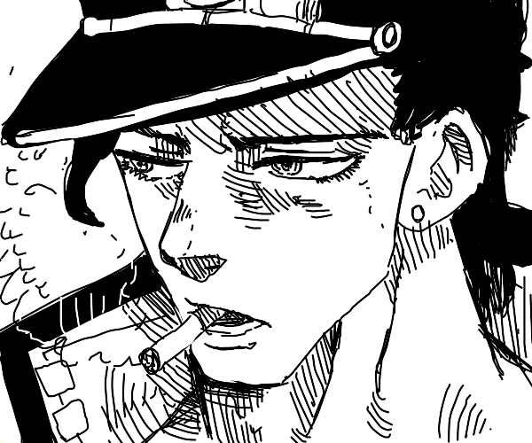 Jotaro smoking a cigarette