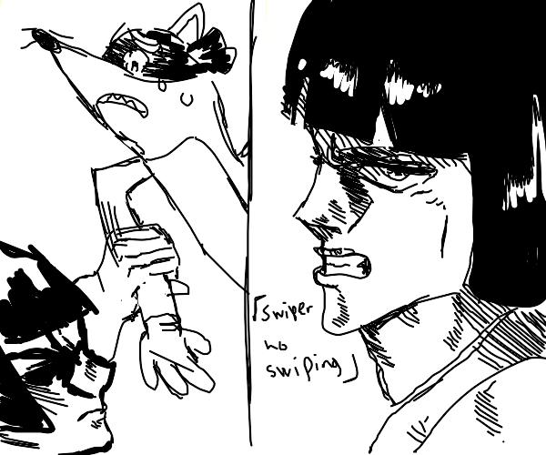Masculine Dora stops Swiper from swiping