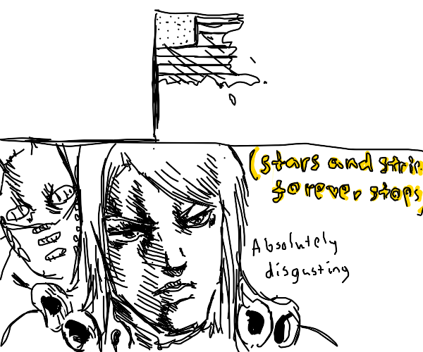 USA flag is dying (funny valentine isnt proud