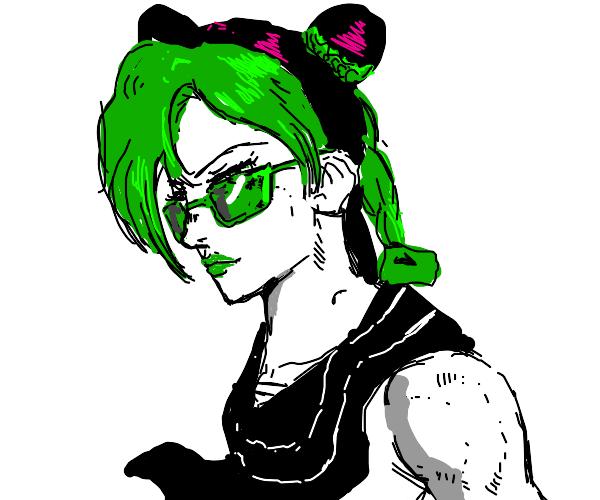 Anime schoolgirl wearing glasses