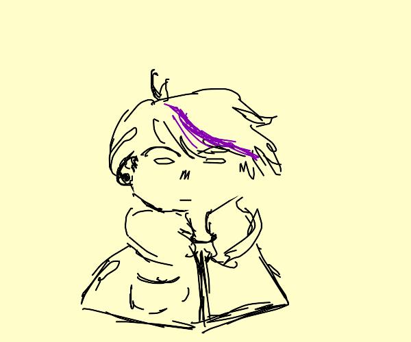 Emo kid with purple streak