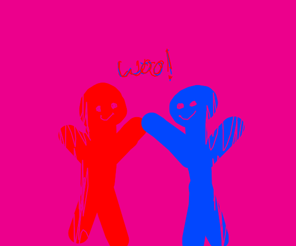 Blue man and red man together