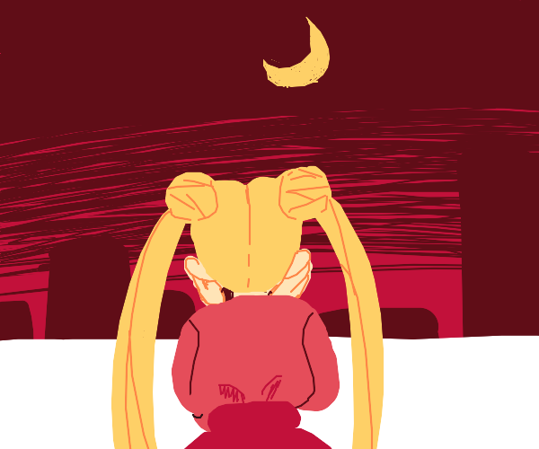 Sailor Moon looks at the city from a balcony