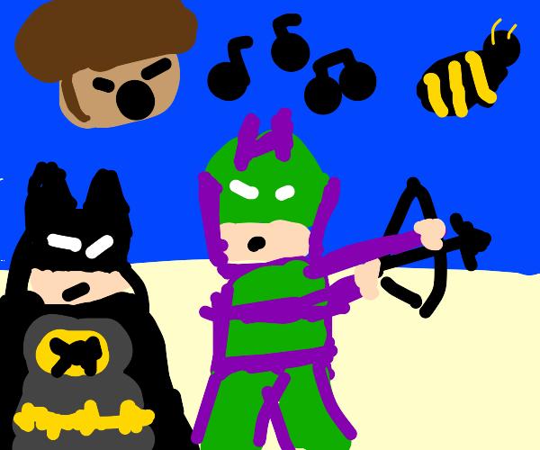 batman, hawk eye, a bee, and a singing acorn