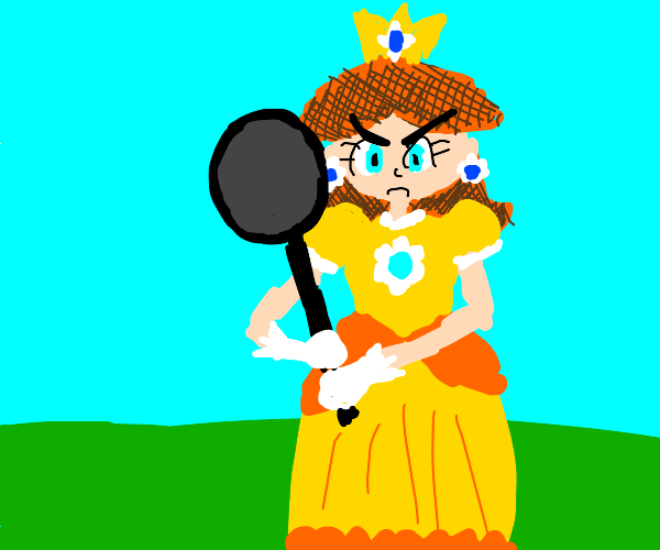 princess daisy threatens you with frying pan